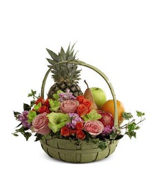 Peaceful Fruit & Flowers Basket