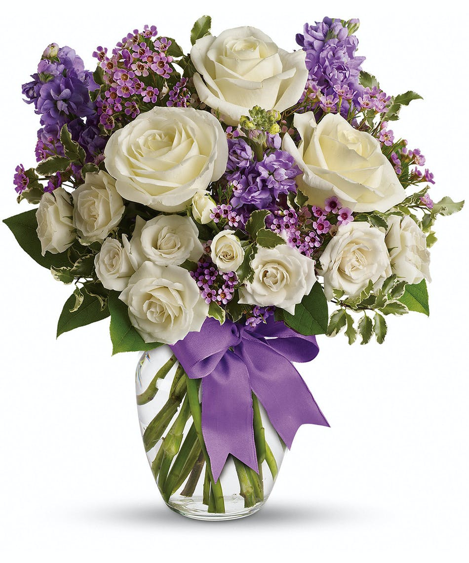 White purple floral bouquet peublo co campbells flowers lovely white and purple floral bouquet in a perfect glass vase and finished with a izmirmasajfo