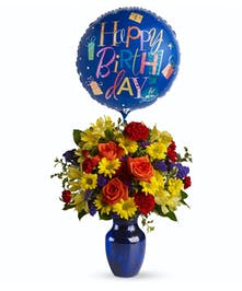 Make birthday spirits soar by sending this fabulously fun birthday bouquet and balloon. Bright primary colors make it perfect for guys and gals.