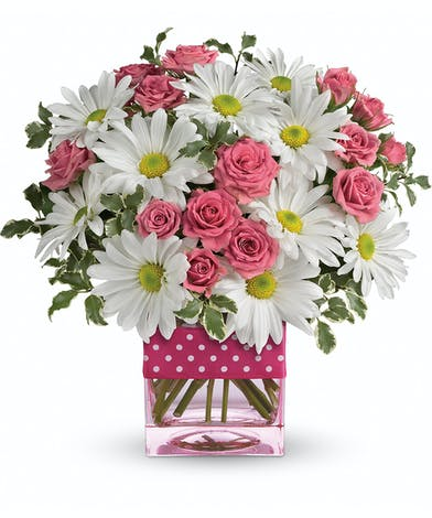 Polka Dots Container & Posies