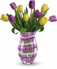 Lavender Plaid Tulip Bouquet