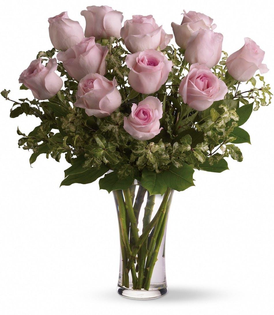 One dozen pink roses pueblo co campbells flowers one dozen pink roses pueblo co mightylinksfo