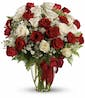 24 Stems of Red & White Roses