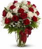 28 Stems of Red & White Roses