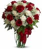 20 Stems of Red & White Roses