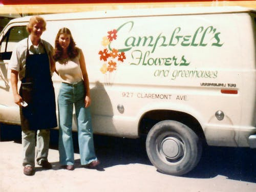 Gary and Mardi Stanifer, with a branded delivery van, soon after taking ownership of the business